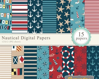 Nautical scrapbook paper 12x12, nautical digital scrapbooking paper, royalty free- Instant Download