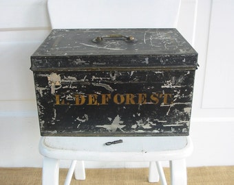 Vintage Bank Box, Vintage Metal Black Box, Bread Box, Antique Black Case with Key, Lock Box, Tin Box, Industrial Box