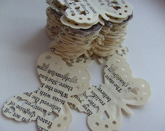 100,Paper butterflies, confetti, scrap booking, paper craft, card making, tags, English  book, by DoodleDee2