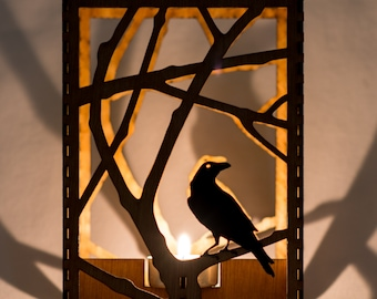"""Raven in Branches laser cut wood candle luminary. 5""""x5""""x7"""". Tea light candle included. Free shipping to US."""