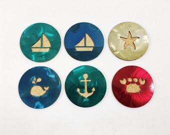 "Beach Nautical 4"" Steel & Cork Coaster - Translucent Metallic Powder Coat - Anchor, Crab, Whale, Starfish, Boat, Octopus"