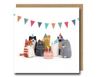 Cat Birthday Card, Cat Card, Funny Birthday Card, Birthday Cat Card, Needle Felted Animal, Cat Lover Card, Birthday Card Funny, Quirky Card