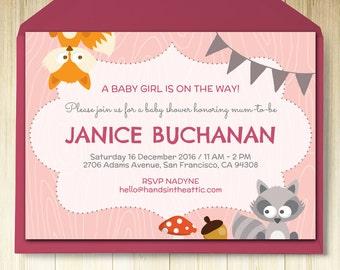 Woodland creatures, woodland nursery, woodland baby shower, editable invitation, kids party ideas, baby animals theme, DIGITAL download