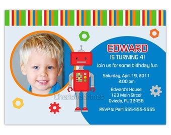 Robot Birthday Invitation With or Without Picture (You Print)