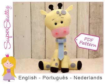 Felt Pattern Jack The Giraffe, softie pattern giraffe, plush pattern animal, pdf sewing pattern by Superskattig