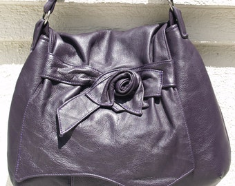 Purple Leather Hobo Handbag with a Rose Accent