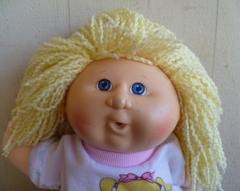 Cabbage Patch Kids Doll 1990  Blond Hair  Blue Eyes Sparkly Clothes