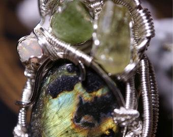 Labradorite, Yellow Apatite, Peridot, and Opal Pendant in Silver