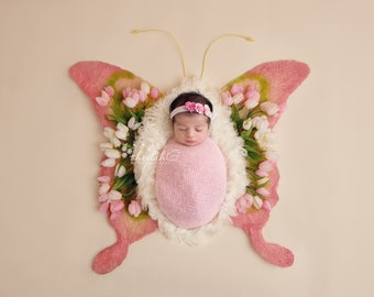 Newborn Digital Backdrop Floral Pink Butterfly Pink Green White