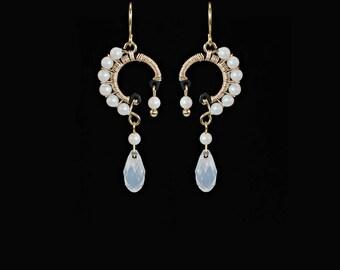 Swarovski Crystal Earrings, White Opal Crystal, Pearlescent Pearls, Industrial Earrings, Swarovski Earrings, Bridal Earrings, Oberon II