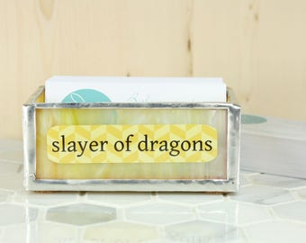 MADE TO ORDER Slayer of Dragons Business Card Holder, Home Office Decor, Desk Organization, Glass Office Accessory, Office Organization