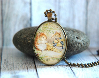 Oval Glass Pendant Necklace, 30mm x 40 mm -  Beatrix Potter - Johhny Town-Mouse and Timmy Willie