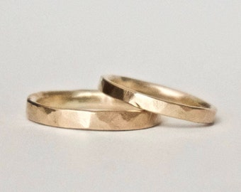 Wedding Band Set - Two Hammered Gold Rings - His and Hers - 9 Carat Yellow Gold  - Men's Ring - Women's Ring - Unisex