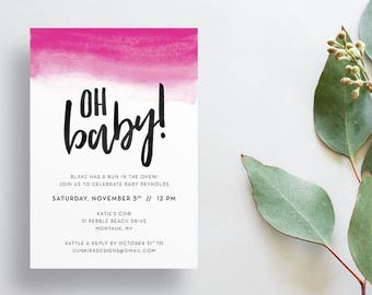 Oh Baby Shower Invites / Bright Pink Watercolor Ombre / Hand Lettering / Semi-Custom Modern Baby Shower Invites / Printed Invitations