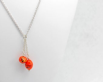 Orange Beaded Dangle Necklace in Silver - Abstract Halloween Jewelry, October Jewelry, One of a Kind