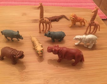 Plastic miniature animals, toy play set, Hong Kong