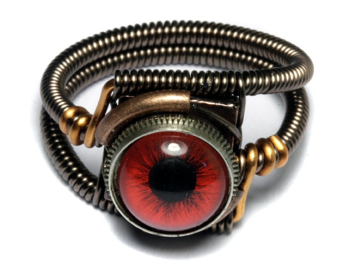 Eyeball ring, Red taxidermy glass Eye, Bronze copper finish, Steampunk ring, beholder ring