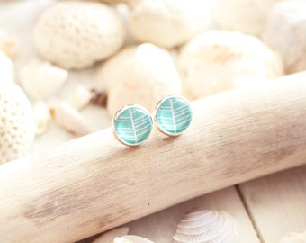Palm Beach stud earrings, green mint graphic pattern, silver white base 10 mm, beach style, summer jewel, for women