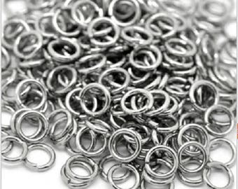 Set of 100 rings in stainless steel 3 mm