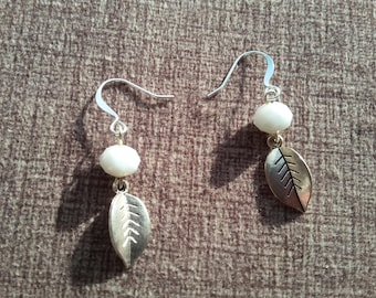 White Rondelles and Silver Leaf Earrings; Silver Earrings