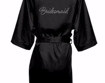 Bridal Party Satin Robes with Rhinestone Crystals, Bridesmaid Robes, Satin Bride Robe ,Rhinestone Bridal Party Robe, Mother of the bride rob