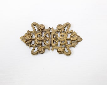 Antique orignal Art Nouveau gilt metal floral belt buckle flower design