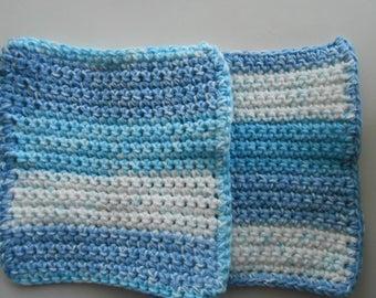 Crochet Cotton Dish Clothes Set of Two Sail Away Stripes