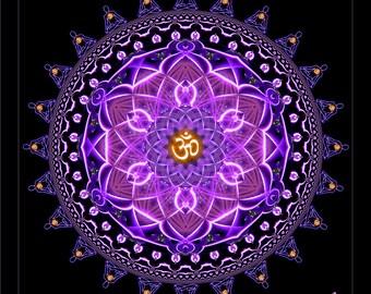 AUM OM SANGHA - Tapestry, Wall Hanging - Original Pumayana Visionary Healing Art, Spiritual, Psy, Shamanic, Sacred Geometry, Entheogenic Art