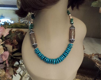 Turquoise flat beaded necklace