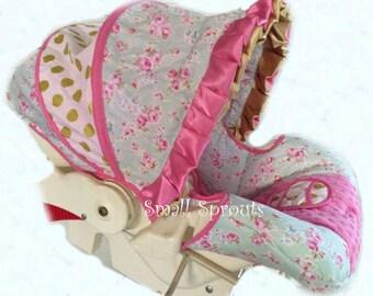 Mint So Shabby Chic Roses Glitz Gold Polka Dot infant baby 5 piece car seat cover set