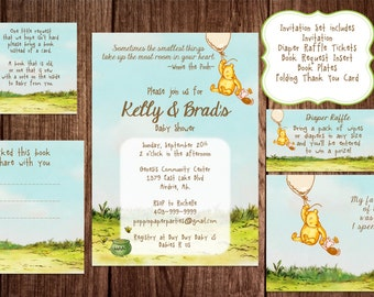 Printable winnie the pooh baby shower game package classic printable winnie the pooh baby shower story book baby shower invitation classic winnie the filmwisefo Images