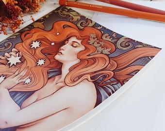 NOUVEAU NOTEBOOK 14'8x21 cm SKETCHBOOK DinA5 stitched recycled paper Art Cosmic Stars bullet journal Starry Retro Vintage Medusa Dollmaker