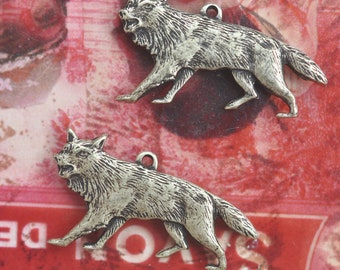 TWO Wolf Brass Charms, Left and Right, Brass Ox, Brass Stampings Made in the USA