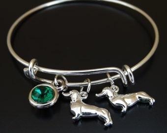 Dachshund Bangle Bracelet, Adjustable Expandable Bangle Bracelet, Dachshund Charm Bracelet, Doxie Bangle, Weenie Bracelet, dachshund lover