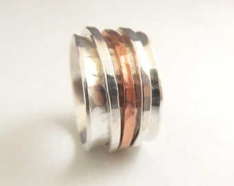 Spinner Ring in Sterling Silver and Copper