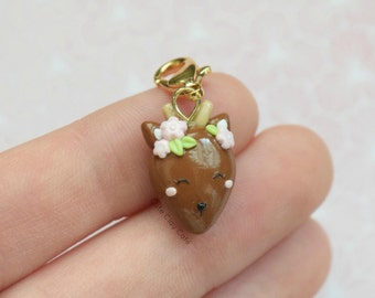 Whimsical Fawn, Whimsical Deer, Polymer Clay Charm, Polymer Clay Necklace, Handmade Polymer Clay Jewelry
