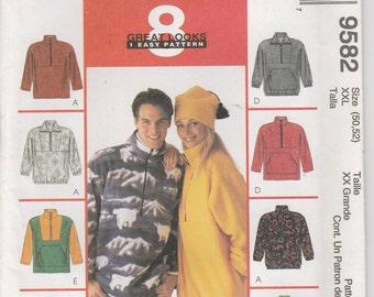 Fall Jacket Pattern Pullover Front Pocket Hat Uncut Misses Size XXL Mens Size 50 - 52 Uncut McCalls 9582