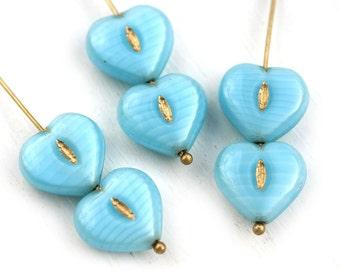 6pc Sky Blue Heart beads Czech glass blue pressed beads Blue Golden wash puffy hearts - 14mm - 0198