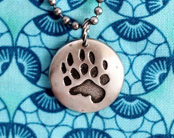 Bear Paw Print Necklace, Bear Charm, Paw Print Pendant, Bear Jewelry, Repurposed Pewter Button Jewelry by Hendywood