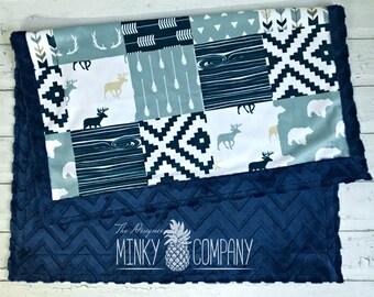 Woodland Baby Blanket - Faux Patchwork - Designer Minky - Blue Deer Patchwork - Navy