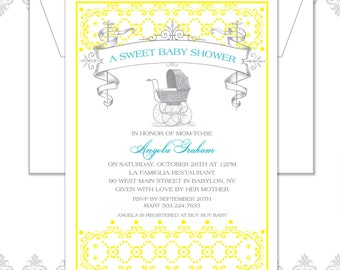 Vintage Carriage Baby Announcement, Baby Carriage Announcement, Vintage Baby Carriage Invite, Vintage Baby Shower, Vintage Show