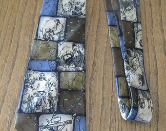 The life of Christ necktie -- free shipping - no shipping -- Eagles Wings -- 81