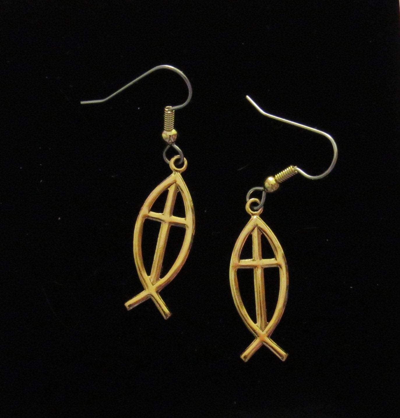 Christian fish symbol with cross earrings 24 karat gold plate description christian fish symbol earrings biocorpaavc Choice Image