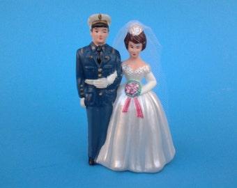Vintage military wedding cake topper - Marine Corp cake topper - Marines - military cake topper - military wedding - Marine and bride