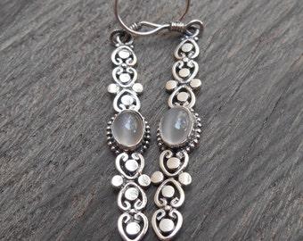 Balinese Silver sterling moonstone gemstone dangle earrings / silver 925 / 2.25 inches long / Bali jewelry / (#88m)