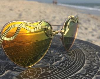 HEARTS Yellow Reflective Women's Sunglasses / One of a Kind Glasses / SPUNGLASSES / Festival EDC Edm Ultra Burning Man Festy Glasses