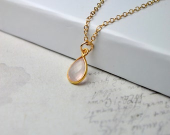Rose Quartz Necklace, Pink Quartz Pendant, Pink Gemstone Necklace, Delicate Jewelry Pink Gifts, Gold Chain Necklace, UK, Wife Gift for Women
