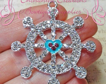 48mm Clear, Aqua and Pink Boat Wheel Rhinestone Pendant, Nautical Theme, Zipper Pull, Keychain, Bookmark
