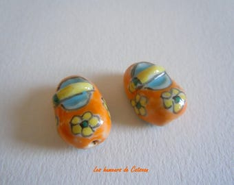 2 China shoes 20x14mm - handmade beads / Pearl porcelain