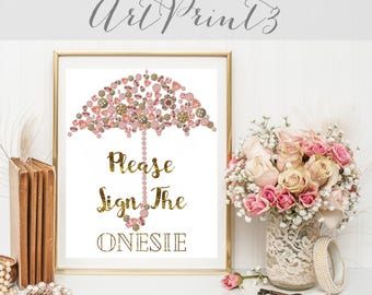 Please Sign the Onesie Sign Printable, Gold Baby Shower Sign Printable, Baby Shower Sign Printable, Umbrella Baby Shower Sign Printable